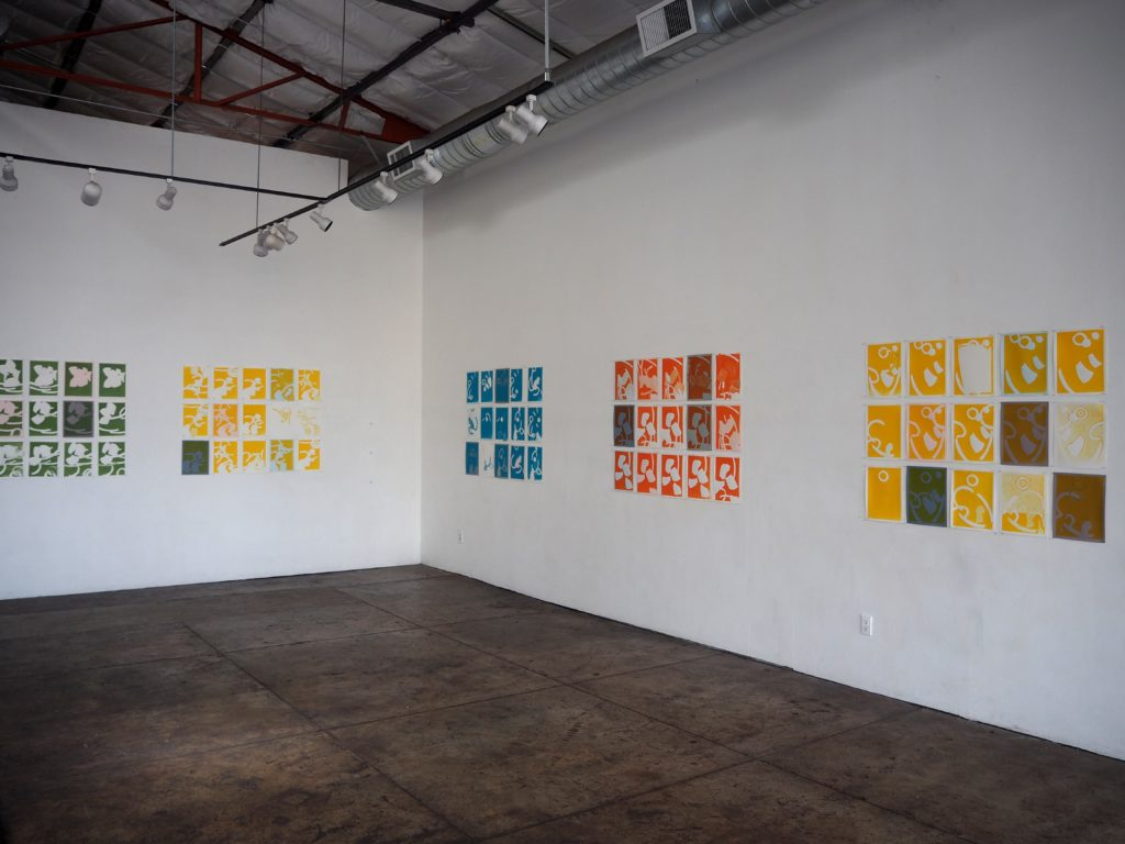 stevenson sccreen print arrays installed in gallery 1078, Chico, CA, 2017
